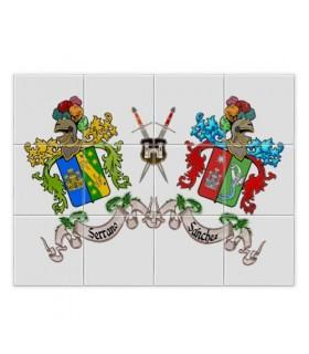 Les Carreaux de mosaïque armoiries 2 prénom nom de famille (sans fond)