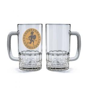 Chope de bière en Verre Guerrier Hoplita Griego