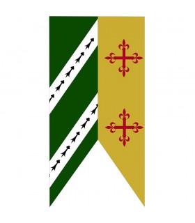 Standard De Deux Tons De Vert-De La Moutarde Croix Médiévale