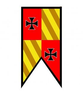 Bannière Médiévale de Quartiers de pics Templiers Croix