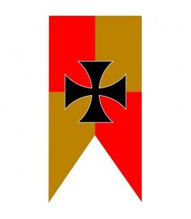 Bannière Médiévale Quartiers Jaune-Rouge Croix Des Templiers