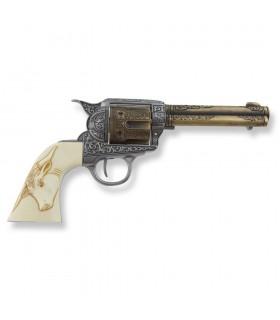 Revolver Colt 45 Pacificateur poignées de buffalo, 27 cms.