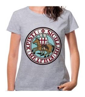 T-shirt Femme Gris Templiers, manches courtes