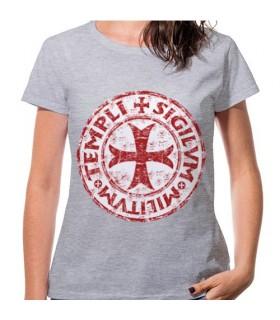 T-shirt Femme Gris de la Croix des Templiers, de manches courtes