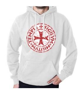 Sweat-shirt Blanc Templiers avec Capuche