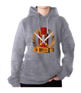 Sweat-shirt Gris Légions Romaines, SPQR, avec Capuche