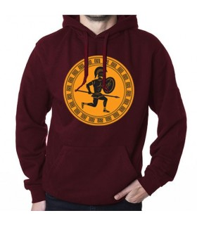 Sweat-shirt Rouge Vin guerrier grec, avec Capuche