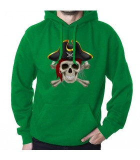 Sweat-shirt Pirate Vert, avec Capuche