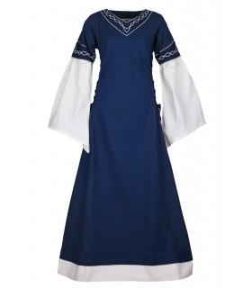 Robe médiévale Alvina, bleu-blanc