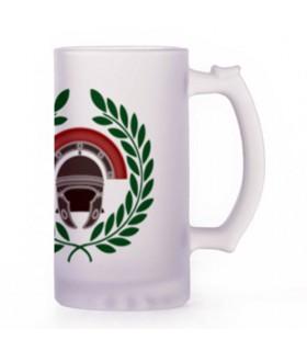 Chope de bière Centurion Romain, cristal translucide