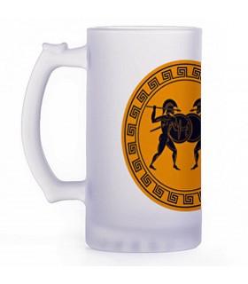 Chope de bière les combattants grecs, cristal translucide