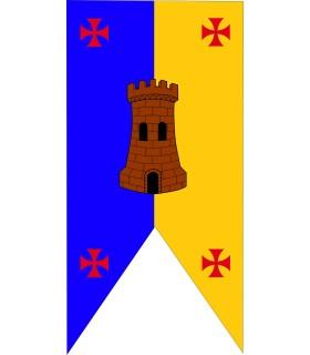Standard Médiévale bicolore Château avec des Croix