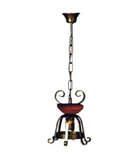 Lampe métal médiéval avec du bois