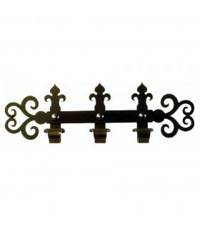 Cintre médiéval en fer forgé avec 3 crochets (60x18 cms.)