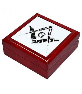 Boîte à Bijoux Symboles Maçonniques (13,8x13,8 cm)