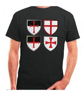 T-shirt noir Templiers Croix, de manches courtes