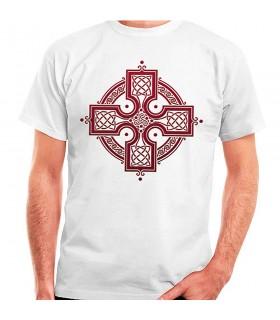 T-shirt blanc de la Croix Celtique, de manches courtes
