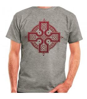 T-shirt Gris de la Croix Celtique, de manches courtes