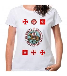 T-shirt Femme Blanc Templiers avec des croix, de manches courtes