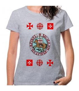 T-shirt Femme Gris Templiers avec des croix, de manches courtes