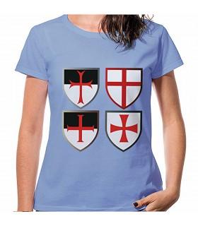 T-shirt Bleu Croix, Templiers, manches courtes