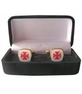 Boutons de manchette Croix des Templiers, émaillé de bijoutier