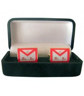Boutons de manchette Maçonnique REAA Tablier avec bijoutier