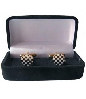 Boutons de manchette Maçonnique Pavées de Mosaïque boîte à bijoux