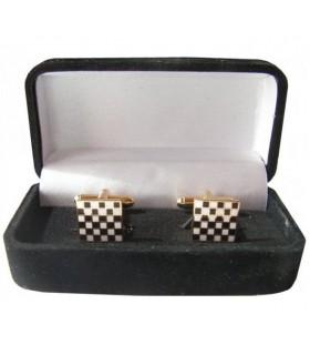 Boutons de manchette Maçonnique de Pavage en Mosaïque de pierre carrée boîte à bijoux