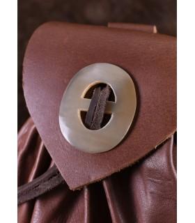 Sac Geldkatze médiévale en cuir marron avec fermoir corne