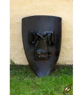 Bouclier de templier noir blanc, 90 x 60 cm