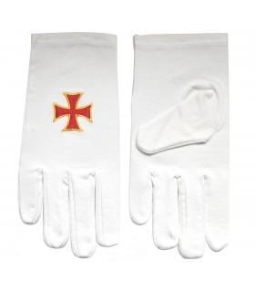 Des gants blancs avec la Croix des Templiers bordaba
