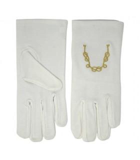 Des gants blancs avec la chaîne de l'union maçonnique