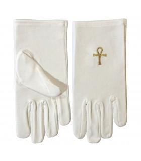 Des gants blancs avec l'Ankh de Isis maçonnique