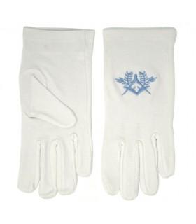 Blanc gants maçonniques avec une équerre, compas de broderie