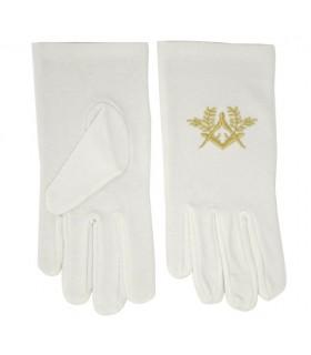 Blanc gants maçonniques avec le compas et l'équerre brodé en or