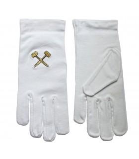 Blanc gants maçonniques avec des maillets brodé en or