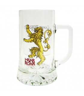 Chope de bière en verre de M'Entendre Rugir Lannister Game of Thrones