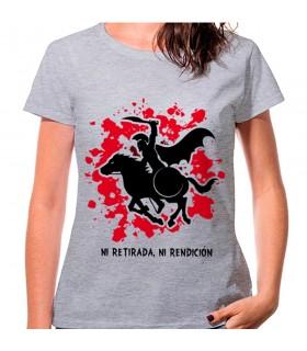 T-shirt femme Spartan à Cheval Gris: ni retraite, ni à la remise