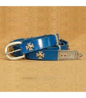Courroie de Croix de malte, en cuir bleu