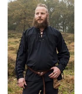Chemise médiévale cravates noires modèle Corvin