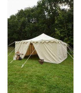Tente médiévale Herold de 6 x 6 m. en coton blanc naturel