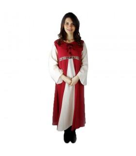 Robe médiévale bicolore modèle Donna rouge-blanc naturel