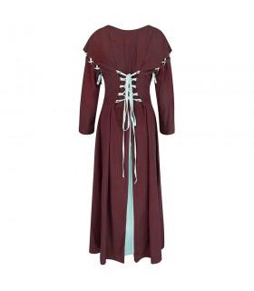 Robe médiévale rouge-blanc modèle Larina