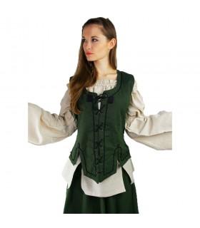 Gilet médiéval femme modèle Selma, vert