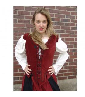 Gilet de modèle médiéval Adrienne, rouge