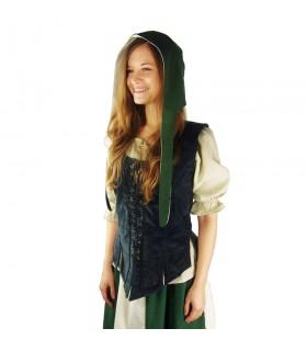 Crespina médiévale modèle féminin Alex, le vert et le blanc naturel