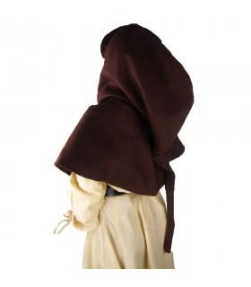 Gugel médiéval de la laine modèle Anita, brun foncé