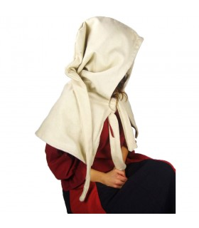 Gugel médiéval de la laine modèle Anita, naturel, blanc