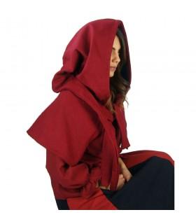 Gugel médiéval de la laine modèle Anita, rouge